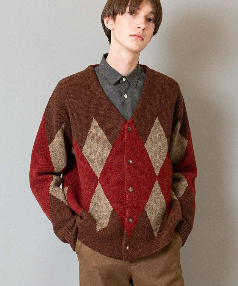 50%OFF【FACTOTUM(ファクトタム)】7G ArgyleCardigan Knit(01090440)