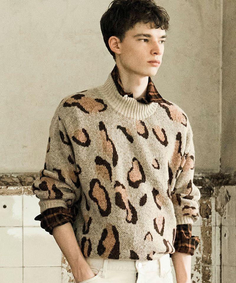 【FACTOTUM(ファクトタム)】C-C 7G Leopard Boucle Hi-neck Knit ニット(01090542)