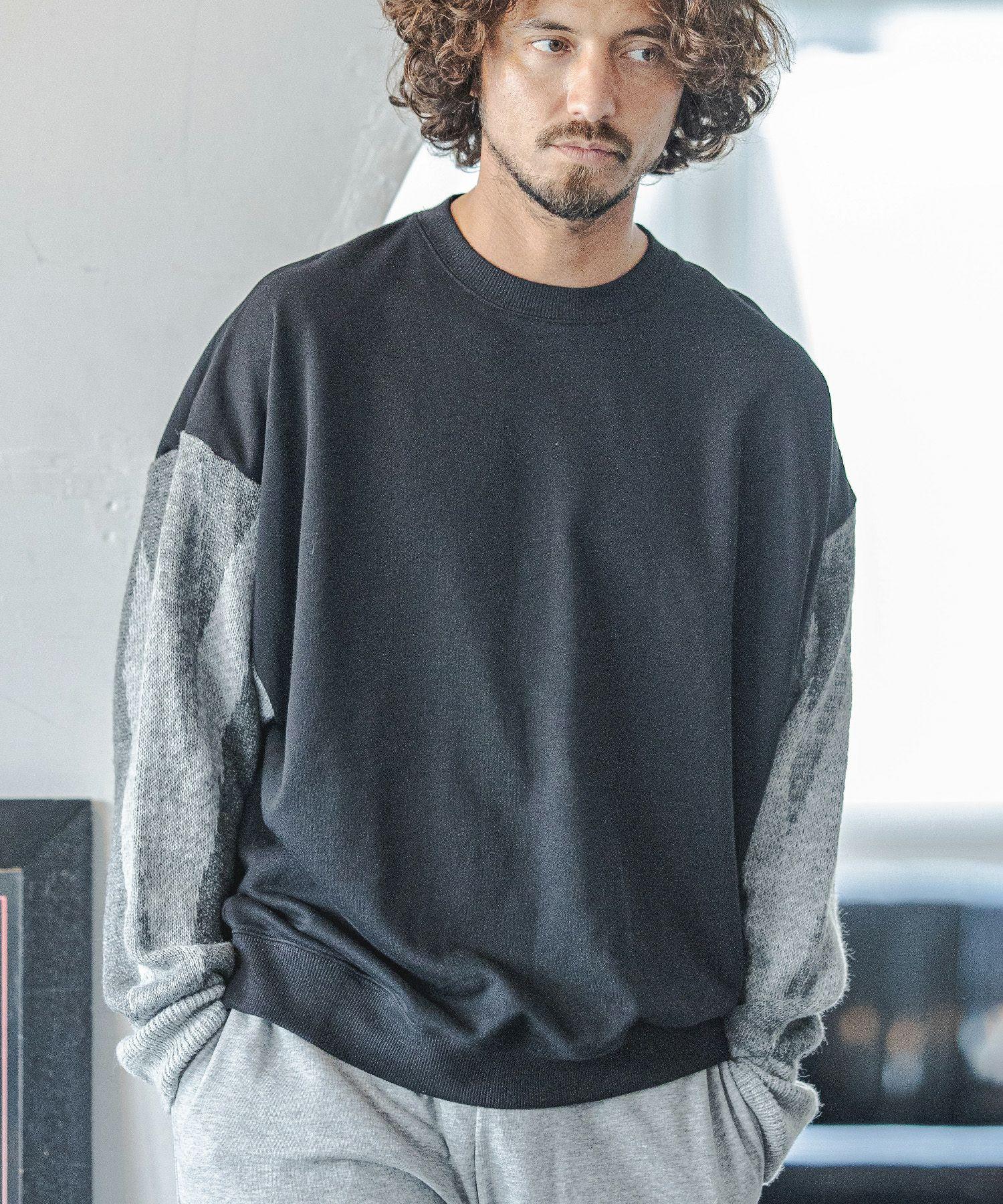 【CAMBIO(カンビオ)】【予約販売10月中旬~下旬入荷】Diamond Pattern Knit Sleeve Sweat Pullover